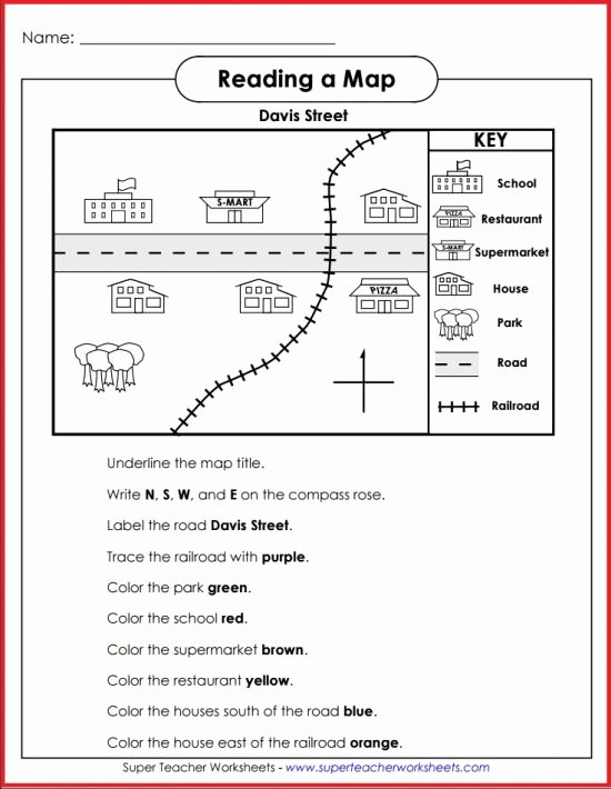 Reading A Map Worksheet Lovely Teach Basic Map Skills with This Printable Map Activity
