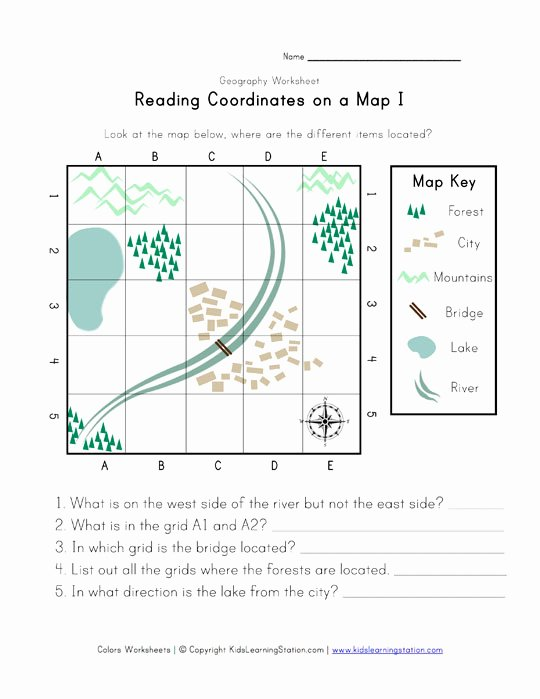 Reading A Map Worksheet New Reading Coordinates On A Map Worksheet