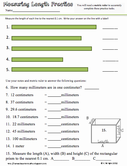 Reading A Metric Ruler Worksheet Fresh Kate S Science Classroom Cafe Metric Ruler Freebie