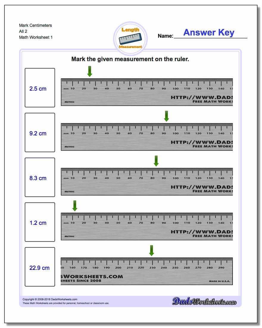 Reading A Metric Ruler Worksheet Fresh Mark the Ruler In Metric