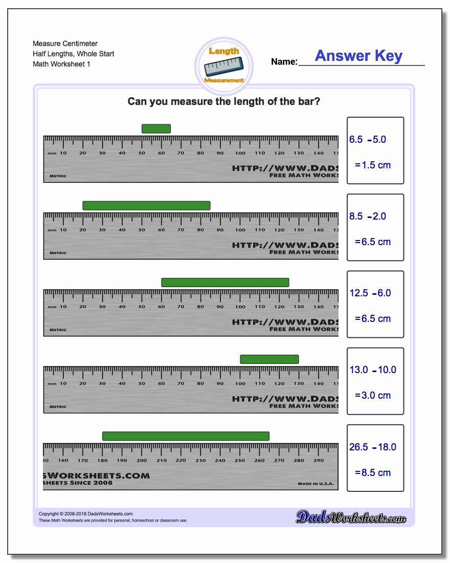 Reading A Metric Ruler Worksheet Luxury Measure Centimeters From wholes