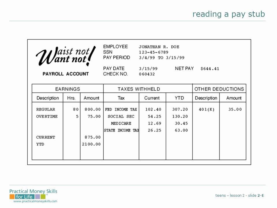 Reading A Pay Stub Worksheet Beautiful Reading A Pay Stub Worksheet Answers
