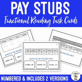 Reading A Pay Stub Worksheet Beautiful Reading Pay Stubs Task Cards by Adulting Made Easy Aka