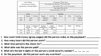 Reading A Pay Stub Worksheet Fresh Life Skills Reading and Writing Pay Stubs by Life Skills