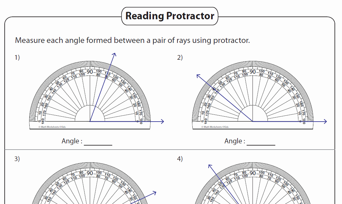 Reading A Protractor Worksheet Awesome Angles – Printable Worksheets 4th and 7th Grade – the