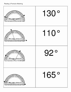 Reading A Protractor Worksheet Awesome Reading A Protractor Matching by Luv 2 Teach