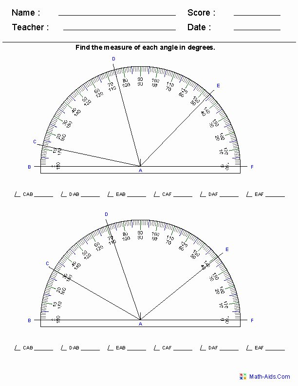 Reading A Protractor Worksheet Awesome Reading A Protractor Worksheets Math Aids