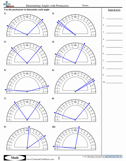 Reading A Protractor Worksheet Beautiful Determining Angles with Protractors Worksheet