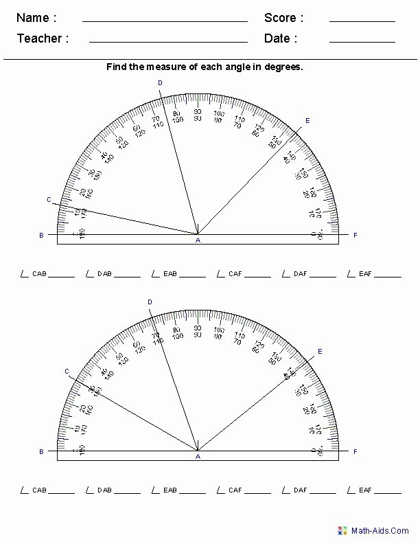 Reading A Protractor Worksheet Elegant Reading A Protractor Worksheets Math Angles