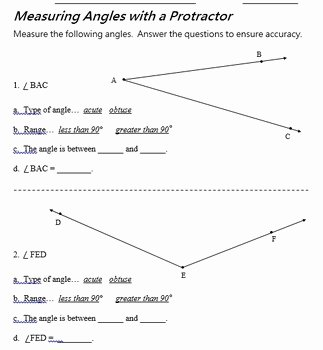 Reading A Protractor Worksheet Inspirational Measure Angles Using A Protractor In A Pdf File by