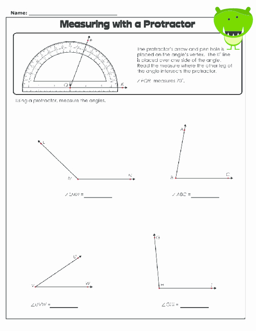 Reading A Protractor Worksheet New Measuring with A Protractor 1 Geometry