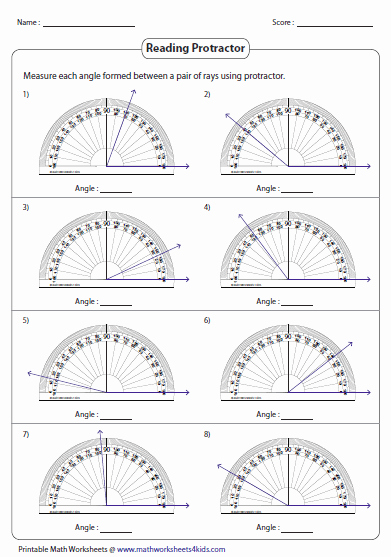 Reading A Protractor Worksheet Unique Measuring Angles and Protractor Worksheets