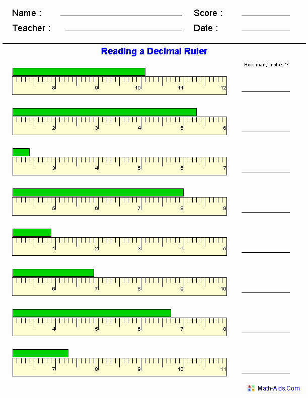 Reading A Ruler Worksheet Pdf Beautiful Measurement Worksheets