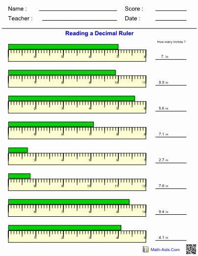 Reading A Ruler Worksheet Pdf New Measurement Decimal Ruler Worksheet