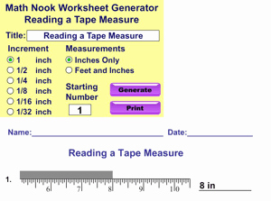 Reading A Tape Measure Worksheet Elegant New Free Math Worksheet Generator Added