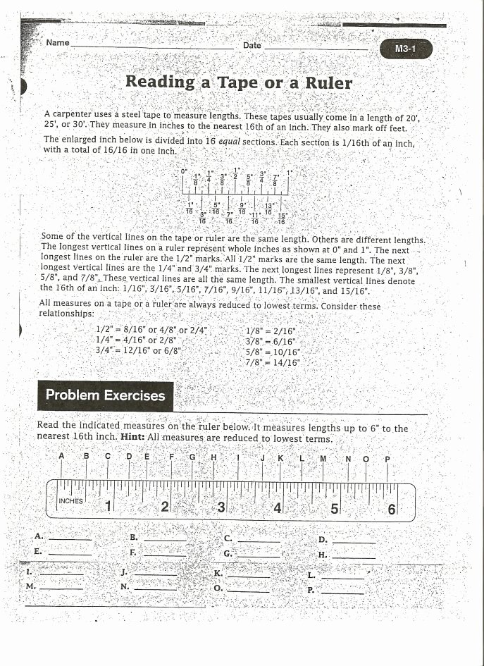 Reading A Tape Measure Worksheet Unique How to Read A Tape Measure Worksheet the Best Worksheets