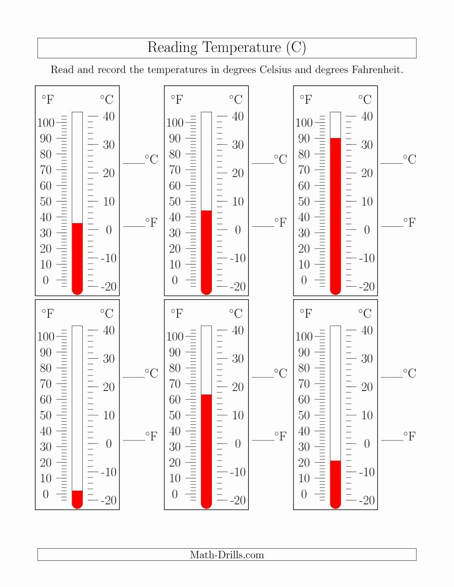 Reading A thermometer Worksheet Awesome the Reading Temperatures From thermometers C Math
