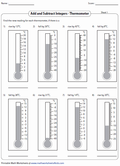 Reading A thermometer Worksheet Inspirational Adding and Subtracting Integers Worksheets