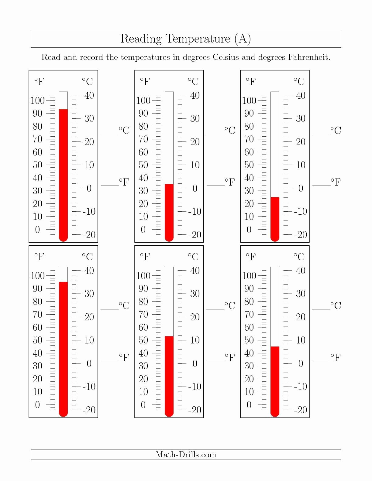 Reading A thermometer Worksheet Inspirational the Reading Temperatures From thermometers A