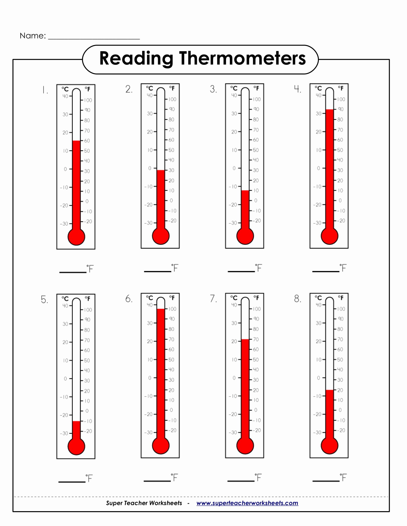 Reading A thermometer Worksheet New 9 Math Worksheets for Students Pdf