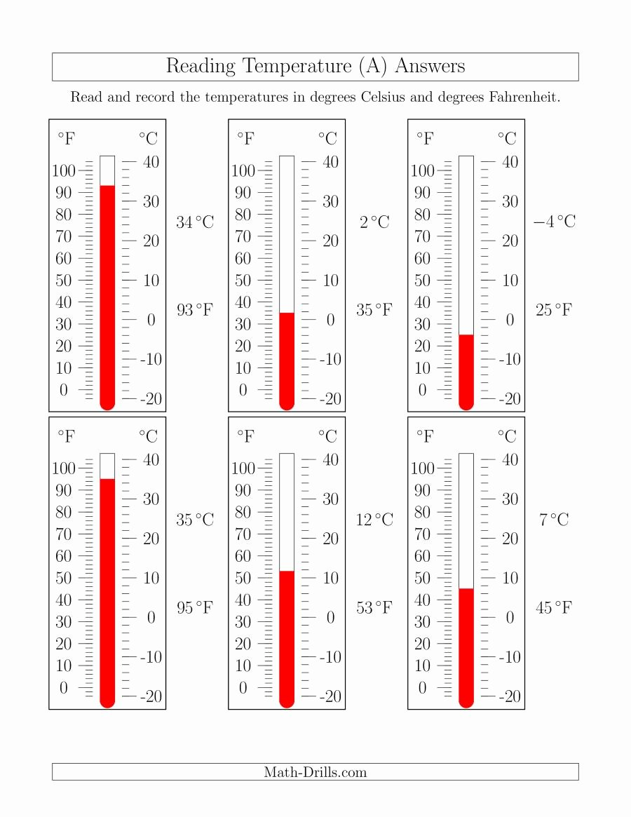 Reading A thermometer Worksheet New Reading Temperatures From thermometers A