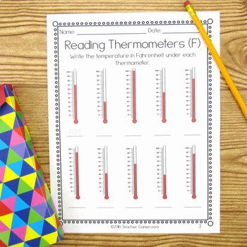 Reading A thermometer Worksheet New Reading thermometers Worksheet by Teacher Gameroom