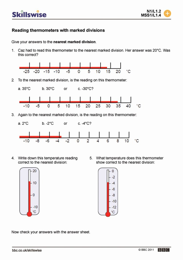Reading A thermometer Worksheet Unique Reading A Celsius thermometer Worksheet