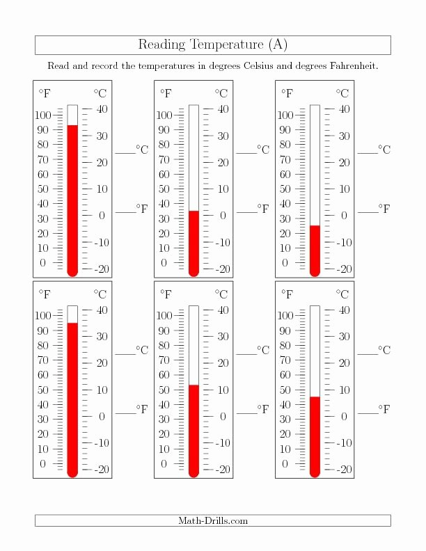 Reading A thermometer Worksheet Unique Reading Temperatures From thermometers A the New