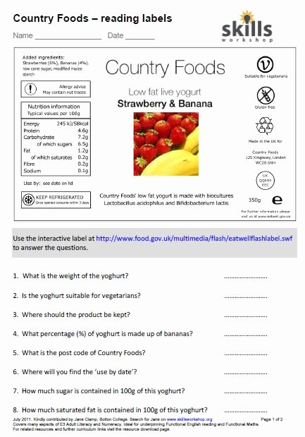 Reading Food Label Worksheet Best Of N2 E3 3