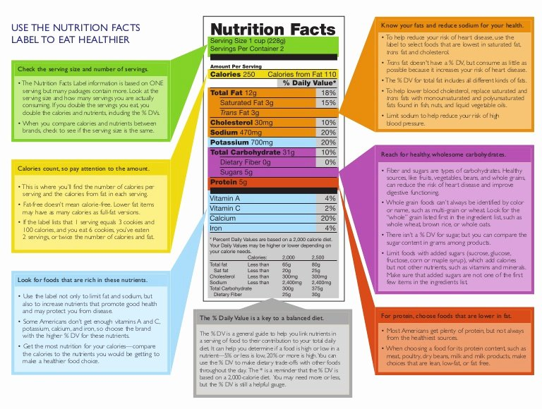 Reading Food Label Worksheet Fresh Nutrition Facts Panel