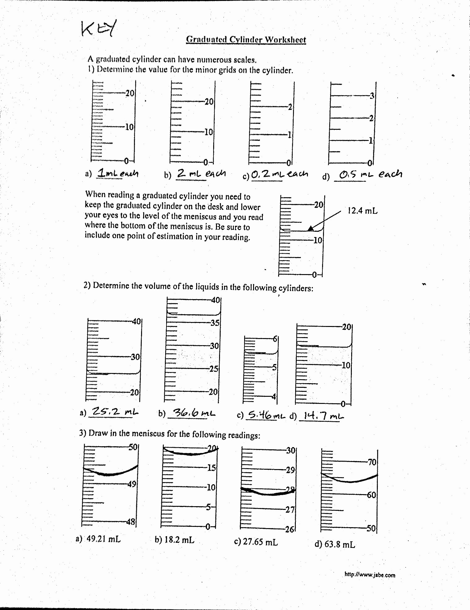Reading Graduated Cylinders Worksheet Unique Volume Worksheet Graduated Cylinder