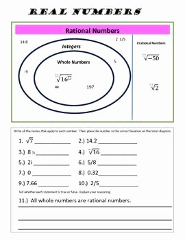 Real Number System Worksheet Luxury Real Numbers