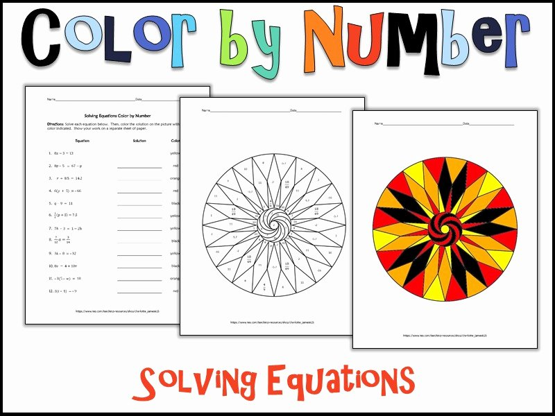 Real Number System Worksheet Luxury solving Equations Color by Number by Charlotte James615