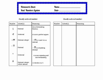 Real Number System Worksheet New Real Number System Chart and Classifying Worksheet by