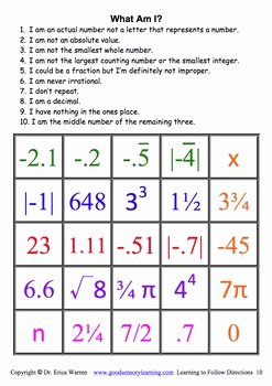Real Number System Worksheet New Real Numbers Following Directions Teaching Language Cues