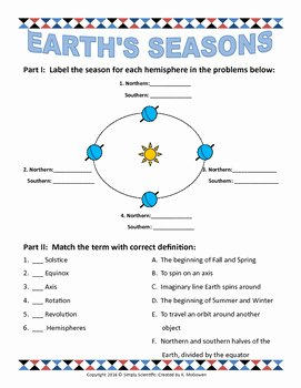 Reasons for Seasons Worksheet Awesome Earth S Seasons School