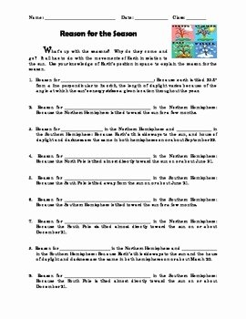 Reasons for Seasons Worksheet Elegant Reason for the Season Reinforcement Worksheet by Kool