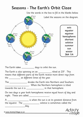 Reasons for Seasons Worksheet Lovely the Earth S orbit