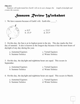 Reasons for Seasons Worksheet New Seasons Review Worksheet Answers