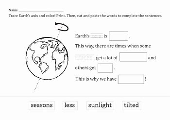 Reasons for Seasons Worksheet New What Causes the Seasons Free Mini Unit for Kindergarten