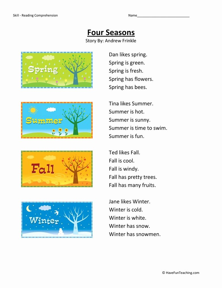 Reasons for Seasons Worksheet Unique Four Seasons First Grade Reading Prehension Worksheet