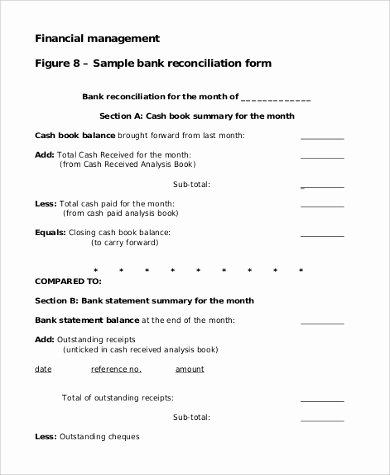 Reconciling A Bank Statement Worksheet Best Of Sample Bank Reconciliation form 9 Examples In Pdf Word