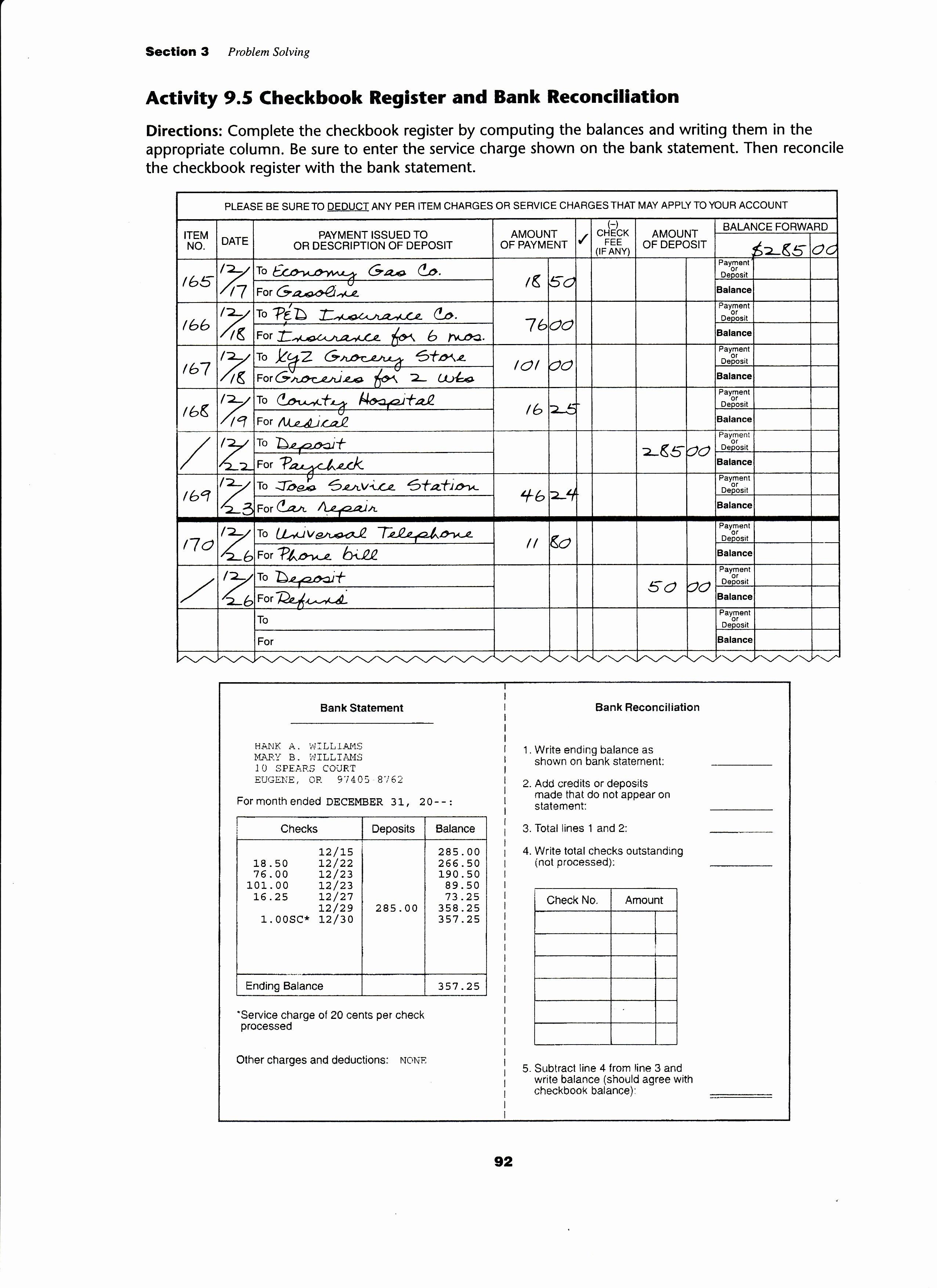 Reconciling A Bank Statement Worksheet Elegant Reconciling A Bank Statement Worksheet the Best Worksheets