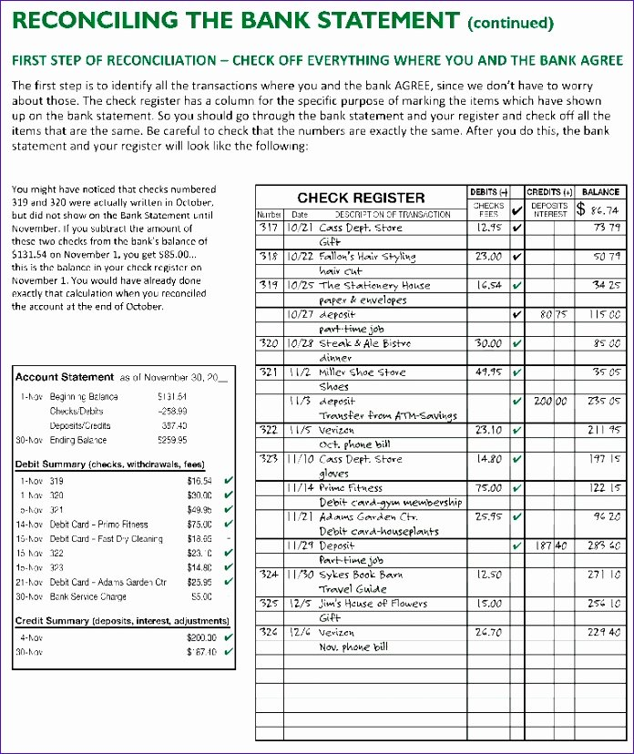 Reconciling A Bank Statement Worksheet Fresh 11 Excel Checking Account Template Exceltemplates