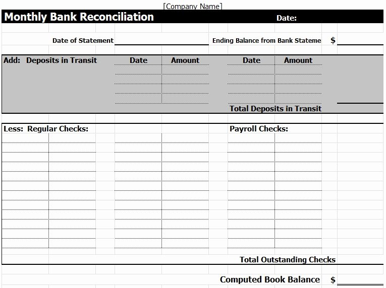 Reconciling A Bank Statement Worksheet Inspirational Bank Reconciliation Template