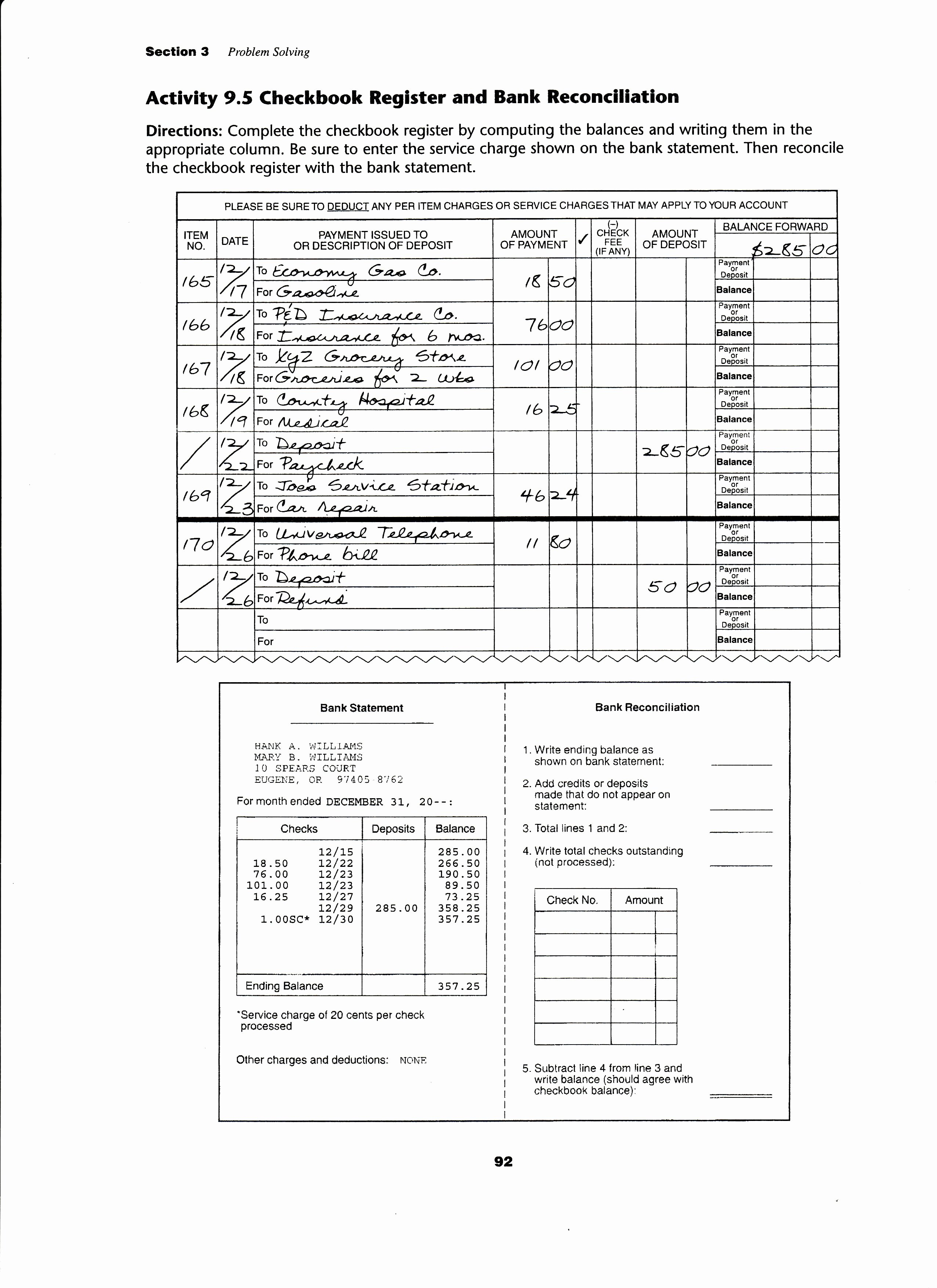Reconciling A Bank Statement Worksheet New Worksheet area A Garden