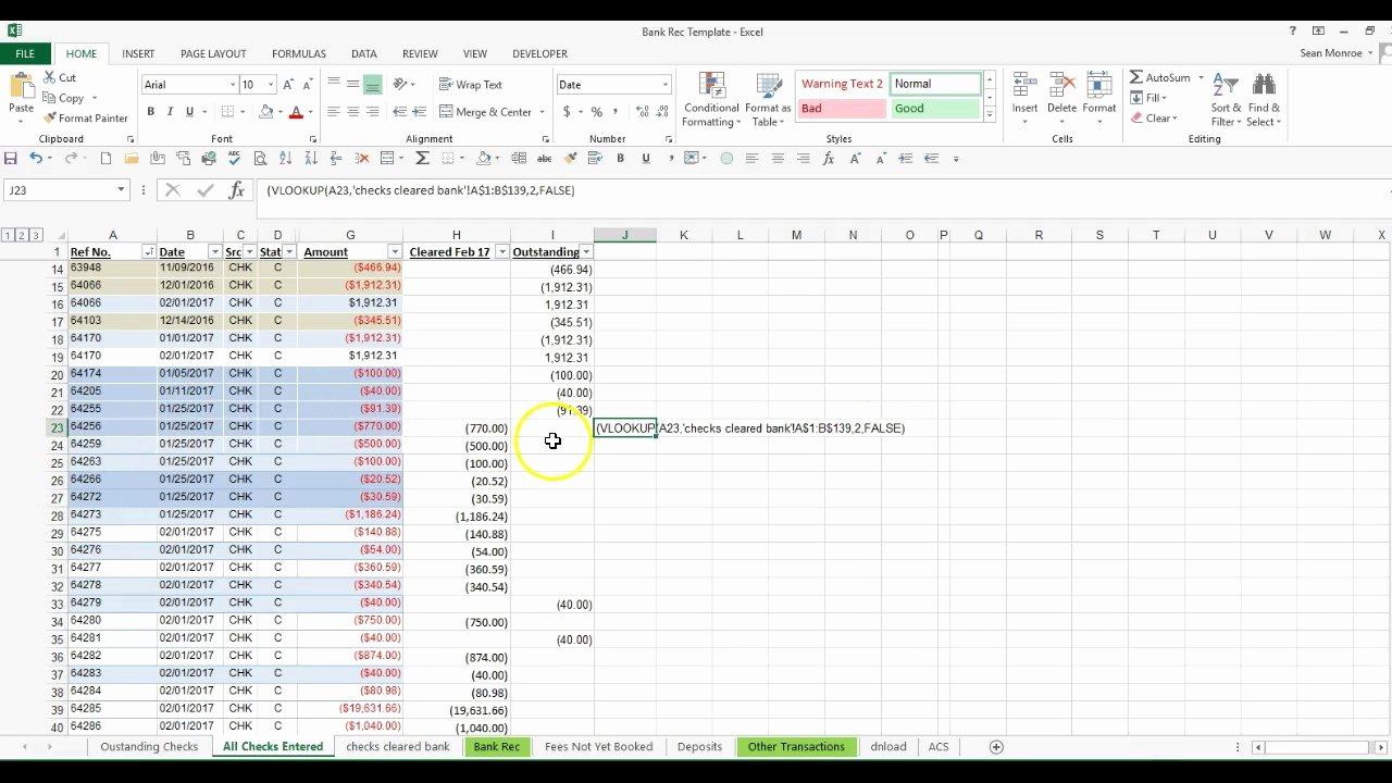 Reconciling A Bank Statement Worksheet Unique Quickly Reconcile Large Number Of Checks Using Vlookup In