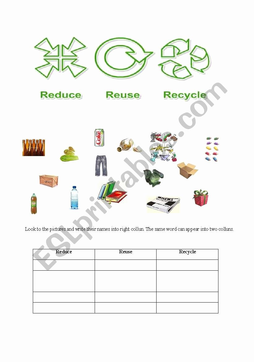 Reduce Reuse Recycle Worksheet Beautiful Reduce Reuse Recycle Pg 1 Esl Worksheet by Profiza