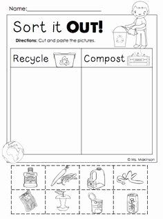 Reduce Reuse Recycle Worksheet Beautiful sorting Trash Earth Day Recycling Worksheets 4 Free
