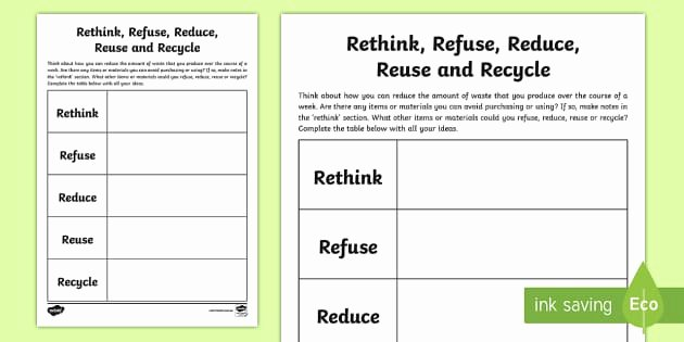 Reduce Reuse Recycle Worksheet Best Of 3 6 Rethink Refuse Reduce Reuse Recycle Worksheet